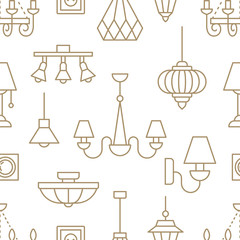 Light fixture, lamps seamless pattern, line illustration. Vector icons of home lighting equipment - chandelier, table lamp, power socket. Repeated background for interior store beige and white.