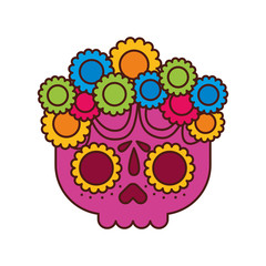 skull flowers the day of the death mexican traditional culture