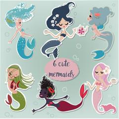 Set with cartoon mermaids