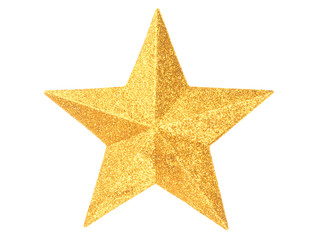 Gold Christmas star on white
