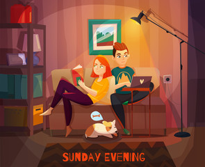 Evening Rest Of Couple Illustration