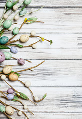 Easter: Weathered Wood With Easter Spring Border