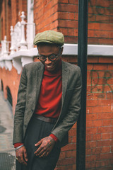 Fashionable young  black  man  in  Soho  London