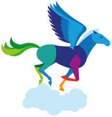 Pegasus is a horse with wings character of ancient Greek mythology