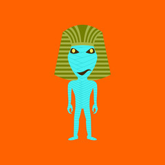 flat illustration on background of mummy halloween monster