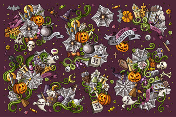 Colorful vector hand drawn Doodle Halloween cartoon set of objects