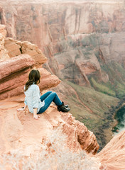 Girl overlooking canyon