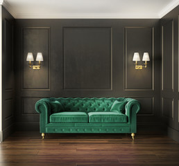Classic elegant luxury green velvet sofa