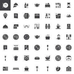 Restaurant cafe vector icons set, modern solid symbol collection, filled pictogram pack. Signs, logo illustration. Set includes icons as as restaurant sign, restaurant location, dishes and food