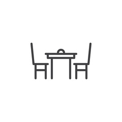 Dining table with chairs line icon, outline vector sign, linear style pictogram isolated on white. Symbol, logo illustration. Editable stroke