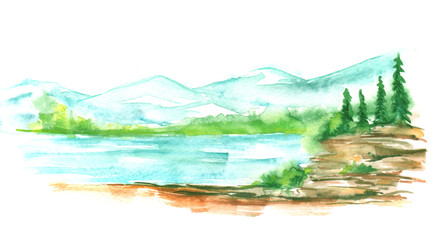 Watercolor landscape, mountain landscape, river, green silhouette of forest, trees, pine, spruce.  Art illustration.
