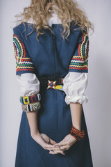 Fashion Photo of Young Woman in Tribal Color Motif Style