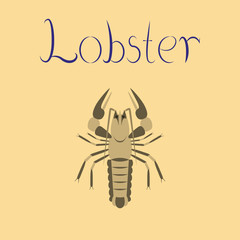 flat illustration on background seafood lobster