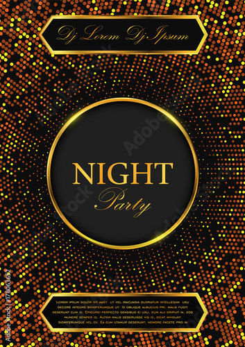 luxury night party flyer gold and black vector background stock