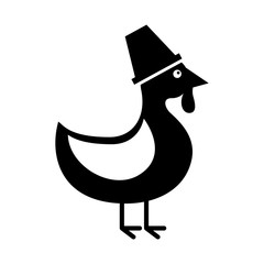 thanksgiving day cute turkey with hat design