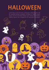 Halloween Banner. Halloween Icons in circles on textured backdro