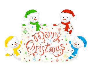 Snowmen holding card with text Merry Christmas