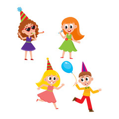 vector flat cartoon kids at party set. Boy dancing with air balloon, girls singing at microphone, dancing and whistling in party hat. Isolated illustration on a white background.