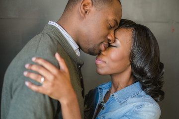 Intimate portrait of an african-american couple in love