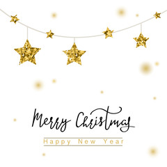 Merry Christmas hand drawn cards, illustrations and icons, lettering design collection