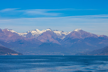 Wall Mural - Lake Como with snow mountain in background Lecco, Lombardy, Italy