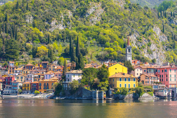 Wall Mural - Lake Como with view of Varenna town in Lecco, Italy