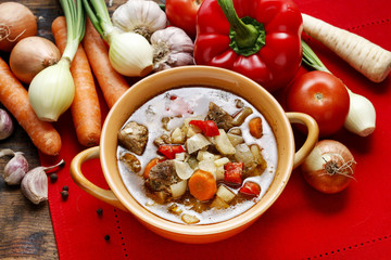 Goulash soup with fresh vegetables and meat
