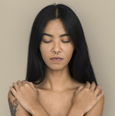 f9c0083901f5d Woman Pierced Nose Ring Bare Chest Arts Calm Peaceful