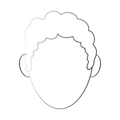 man curly hair avatar head icon image vector illustration design  black sketch line