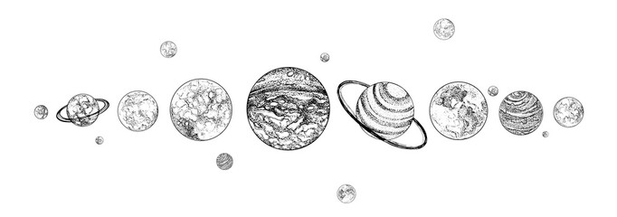 Planets lined up in row. Solar system drawn in monochrome colors. Gravitationally bound celestial bodies in outer space. Natural cosmic objects arranged in horizontal line. Vector illustration.