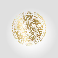 Happy new year card with a golden toy from various flower swirls over gray background. Vector illustration.