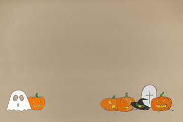 drawing greeting halloween background on paper crafts. greeting card and advertising space for text