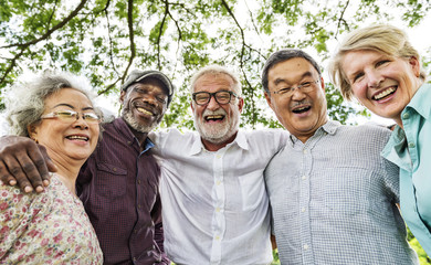 Group of Senior Retirement Discussion Meet up Concept Wall mural