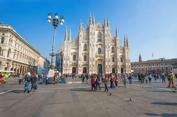 MILAN, ITALY, OCTOBER 13, 2017 - View of famous Milan Cathedral (Duomo di Milano), Italy.