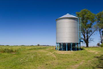 Farm grain silos for agriculture.