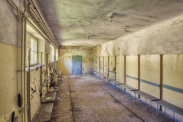 abandoned changing room in swimming baths