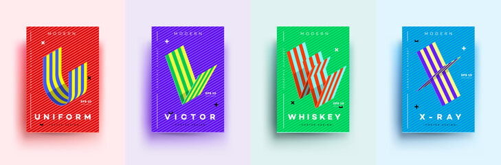 Modern Typographic Colorful Covers. Isometric Letters U, V, W, X With Abstract Memphis Design Background. Vector Trendy Template For Your Posters, Banners, Presentations, Layouts