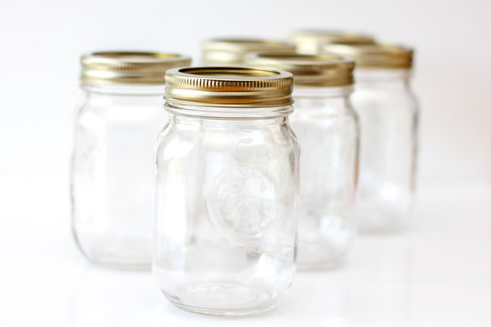 Empty Mason Jar on a white Background