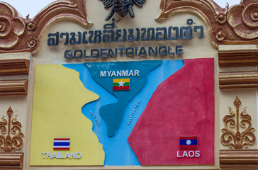 CHIANG RAI, THAILAND - FEBRUARY 20 2017 - Signs showing the Golden Triangle area three countries along the Mekong river in Chiang Saen, Chiang Rai the drug-producing area in history.