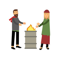 Homeless man and woman warming themselves near the fire, unemployment people needing for help vector illustration