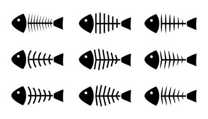 Set of fish bone icons, vector