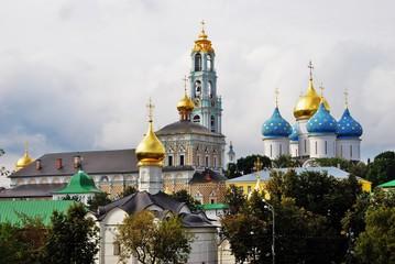 Architecture of Trinity Sergius Lavra, Sergiyev Posad, Russia. Color photo.