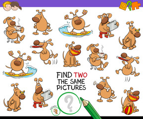 find two the same cartoon dog pictures game