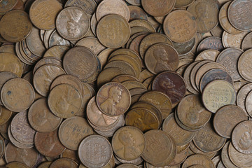 Old money background  USA one cent coins from 1940s - 1950s