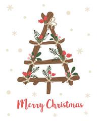 Vector illustration of handmade christmas tree. Cute cartoon style. Christmas decoration. Background, design element, card, print