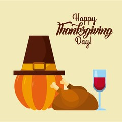 happy thanksgiving day card greeting pumpkin hat wine and roasted turkey