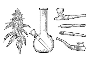 Cigarettes, pipe, lighter, buds cannabis. Vintage engraving