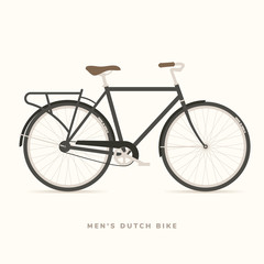 Mens Classic Dutch Bike, vector illustration