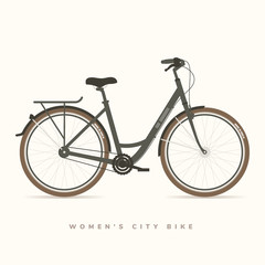 Womens City Bike Black, vector illustration