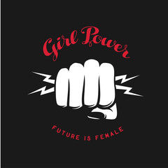 Girl power quote with fist. Vector illustration.